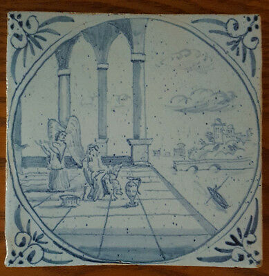 """Very Old Delft Biblical Tile. Decorated Rear Side 5"""""""