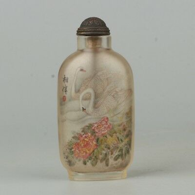 Chinese Exquisite Handmade swan flowers Text Glass Inner painting snuff bottle