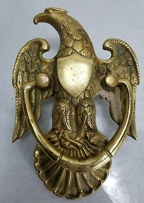 Patriot Eagle & shield shell door knocker old antique vintage solid brass large