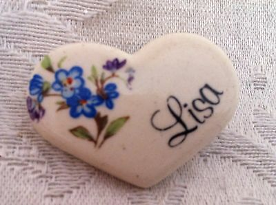 Ceramic Heart Pin w/ Blue Flowers & Name Tag Lisa By Earthy Endeavors