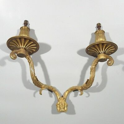 Antique French Gilded Bronze Chandelier Arms, Sconce, Classical Head, Mask