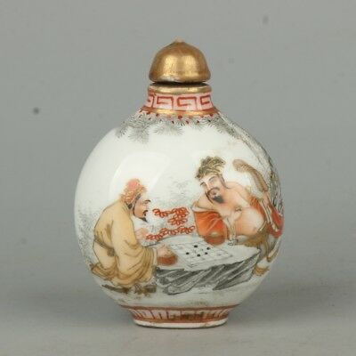 Chinese Exquisite Handmade the ancients Text pattern porcelain snuff bottle
