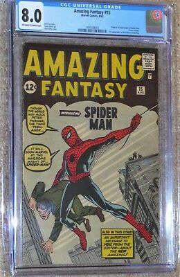 Amazing Fantasy #15 CGC 8.0 UNRESTORED 1st Appearance of Spider-Man! 300K VALUE!