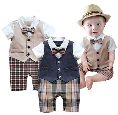 Baby Boy Wedding Christening Formal Dressy Party Tuxedo Outfit Suits Dress 3-18M