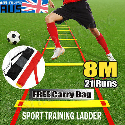 Agility Speed Sport Trainning Ladder Strap 8M Soccer Fitness 21 Rungs With Bag