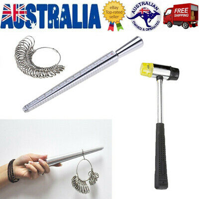 3PCS Reliable Metal Finger Gauge & Mandrel Ring Sizer Tool Stick-Combo AU Ship