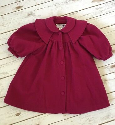 Cary San Francisco Girls Vintage Pink Wool Peacoat Size 2T