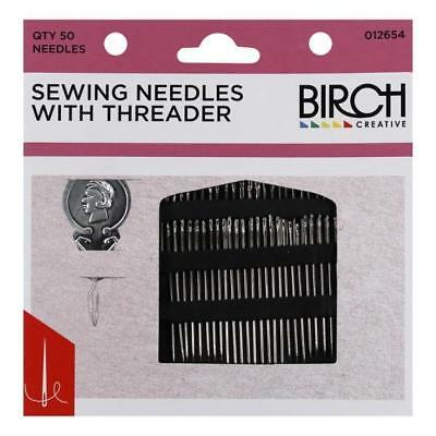 BIRCH - 50 Assorted Sewing Needle and Threader Pack