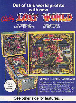 BALLY Lost World pinball flyer brochure pamphlet.   Year 1978.