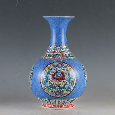 Collection Chinese Colorful Porcelain Hand-Painted Flowers Noble Vase