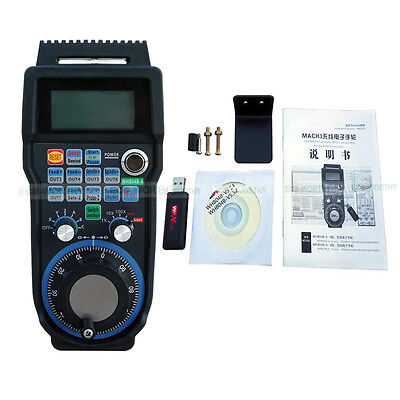 USB Wireless MPG Handwheel Controller for CNC MacMach 6 axis Pendant LCD Display