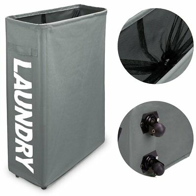 WISHPOOL Slim Rolling Foldable Laundry Hamper Thicken Oxford Cloth Laundry