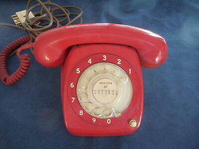 Vintage Red Telephone 1960's Retro Dial Phone