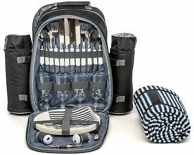 Picnic Backpack for 4 by Mister Alfresco, Stylish Black Color With Insulated