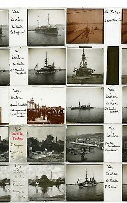 collection de 350 photos stereoscope sur verre 45x107 theme bateaux 1900 rare