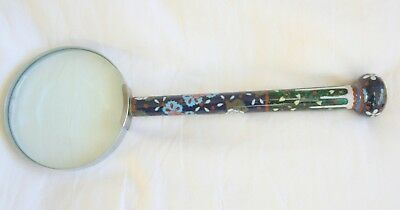 Fine Japanese Cloisonne Handled Desk Magnifying Glass  Circa 1920