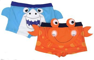 Boys Swimming Trunks Shorts Crab or Shark 3-6 Months Up To 4-5 Years 3D Detail