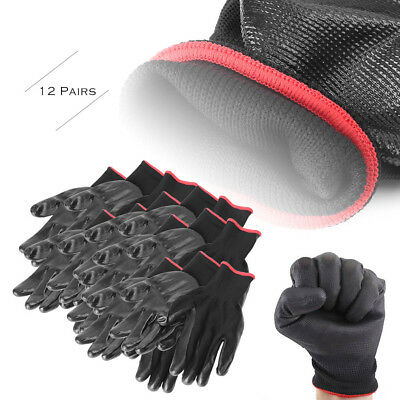 12Pairs Nylon PU Safety Coating Work Gloves Builders Grip Palm Protect S/M/L