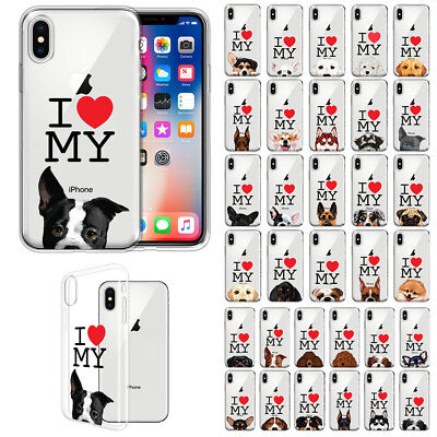 For Apple iPhone X / XS 5.8 inch I Love My Dog Design TPU Clear Case Cover