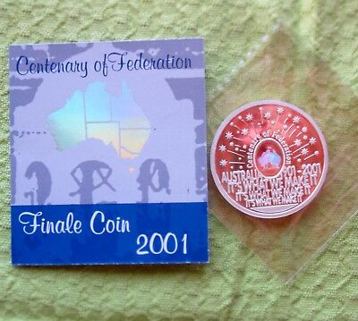 2001 $5 Centenary Of Federation Finale Hologram 36gm Silver Proof Coin