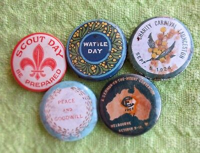 5 X Various Tin Appeal Badges  - 22mm
