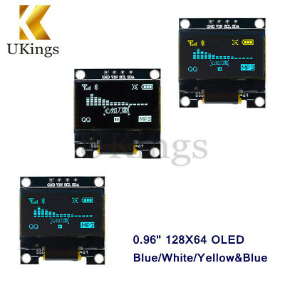 "0.96"" Yellow/Blue/White 128X64 OLED I2C IIC Serial LCD LED SSD Display SSD1306 K"