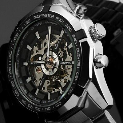 Top Men's Automatic Self-winding Mechanical Skeleton Stainless Steel Wrist Watch