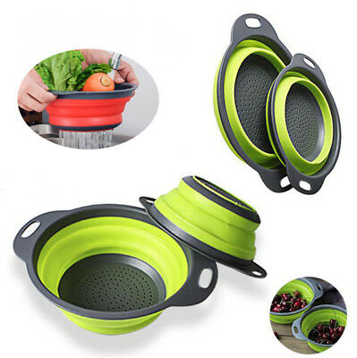 Silicone Collapsible Colander Fruit Vegetable Picnic Kitchen Draining Strainer