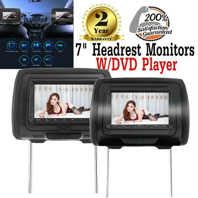"7"" Black Car Headrest Monitors w/ DVD Player USB/HDMI + Games Controller US Ship"
