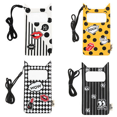 Unisex Cartoon Lovely Leather Mobile Phone Case Cover Hanging Neck Phones Bag SY