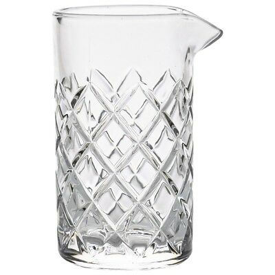 Mixing Glass 500ml - Vintage Cocktail Stirring Glass with Cut-Glass Pattern