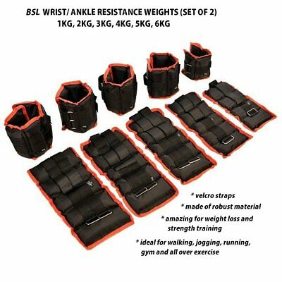 Ankle Wrist Resistant Weights Adjustable Training Exercise 1 2 3 4 5 6 Kg Black