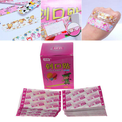 100 X Waterproof Adhesive Bandages Breathable First Aid Wound Plaster Cartoon
