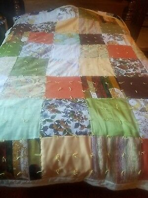 """Vintage Antique Hand Sewn Handmade Patch  Quilt 67"""" by 84""""  Large Soft + Comfy"""