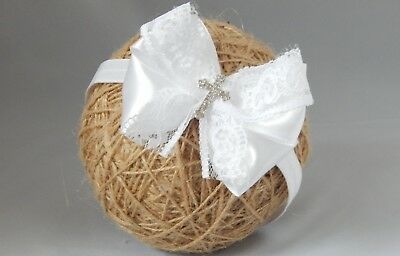 White baby bow headband hair band for baptism christening satin bow with cross