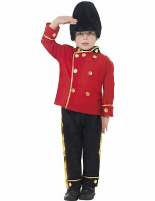 Child Royal Busby Guard Soldier Boys Fancy Dress Kids Book Week Costume Small