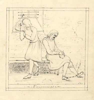 Louisa Fanny Burrard, Prisoners - Original mid-19th-century pen & ink drawing