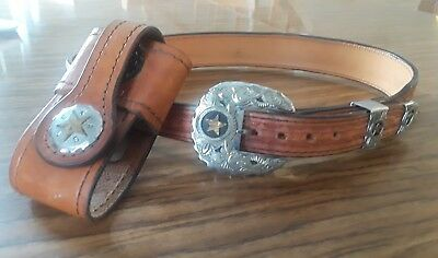 Leather Cowboy Belt With Cell Phone Holder Size 30