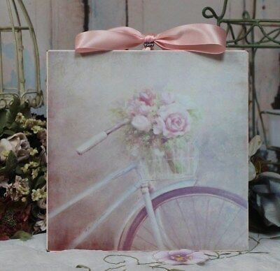 """~ """"Roses & Bike"""" Shabby Chic Vintage Country Cottage style Wall Decor Sign ~"""