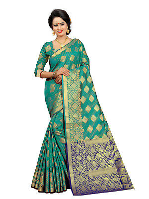 Dark Cyan Indian Pakistani Wedding Traditional Ethenic Jacquard Kanjivaram Saree