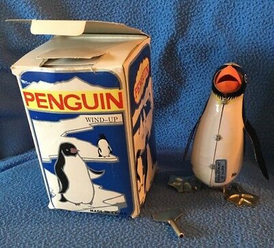 PENGUIN! Blic Rock & Roll Tin Lithograph Wind Up Toy 1980s original key VTG
