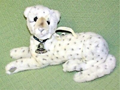 "Vintage DAKIN SNOW LEOPARD 13"" 1991 Spotted White Plush Stuffed SILVER PAWS Toy"