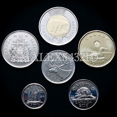 🇨🇦​Canada 2018 Complete Coin Set 5 Cents To 2 Dollars Uncirculated (6 Coins)