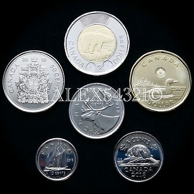 Canada 2018 Complete Coin Set 5 Cents To 2 Dollars Uncirculated (6 Coins)