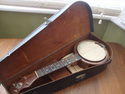 Vintage Keech Banjo/Banjolele/Ukulele Inlaid w/ Case & Accessories Very Nice
