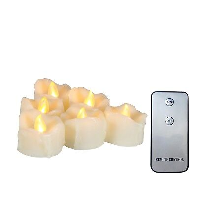 "6PCS Flameless Battery Operated LED Tea lights with Remote and Drips 1.5""x1.5"""