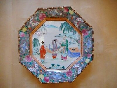 Assiette porcelaine china chine plate chinesse porcelain canton japon japan 30cm