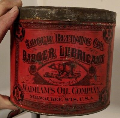 Original Early Wadhams Oil Co Badger Lubricant Tin Litho Can Milwaukee WI