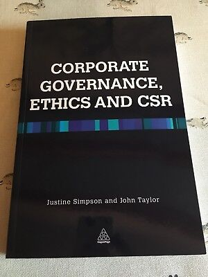 Corporate Governance, Ethics and CSR - Paperback NEW John Taylor 2013-01-03