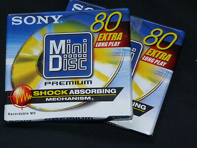 "2x Sony MDW-80D   Premium  -  Gold  - MD80 Minidisc  -  ""NEU in OVP""   Sealed !!"